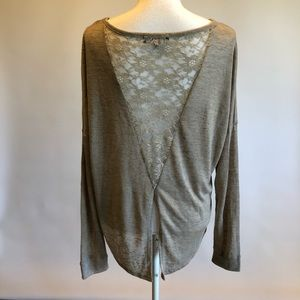 Energie L Beige Knit Top with lace back